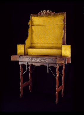 Traveling Altar, 1769- ca. 1820. Cedar, partially covered with leather; iron and brass hardware; interior lined with replacement yellow silk; and metal wire trim., Open: 88 x 60 1/2 x 20 in. (223.5 x 153.7 x 50.8 cm). Brooklyn Museum, Frank L. Babbott Fund, Frank Sherman Benson Fund, Carll H. de Silver Fund, A. Augustus Healy Fund, Caroline A.L. Pratt Fund, Charles Stewart Smith Memorial Fund, and Ella C. Woodward Memorial Fund, 48.206.11. Creative Commons-BY