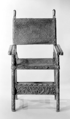 Armchair, 18th Century. Spanish cedar, embossed and painted leather, iron, 42 1/8 x 23 1/4in. (107 x 59.1cm). Brooklyn Museum, Frank L. Babbott Fund, Frank Sherman Benson Fund, Carll H. de Silver Fund, A. Augustus Healy Fund, Caroline A.L. Pratt Fund, Charles Stewart Smith Memorial Fund, and Ella C. Woodward Memorial Fund, 48.206.26. Creative Commons-BY