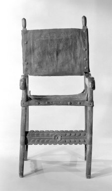 Armchair, ca.1750. Walnut, leather, 47 1/4 x 22 1/2 x 22 in. (120 x 57.2 x 55.9 cm). Brooklyn Museum, Frank L. Babbott Fund, Frank Sherman Benson Fund, Carll H. de Silver Fund, A. Augustus Healy Fund, Caroline A.L. Pratt Fund, Charles Stewart Smith Memorial Fund, and Ella C. Woodward Memorial Fund, 48.206.28. Creative Commons-BY
