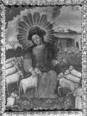 Unknown. Divina Pastora. Oil on fabric, Frame: 33 x 26 in. (83.8 x 66 cm). Brooklyn Museum, Frank L. Babbott Fund, Frank Sherman Benson Fund, Carll H. de Silver Fund, A. Augustus Healy Fund, Caroline A.L. Pratt Fund, Charles Stewart Smith Memorial Fund, and Ella C. Woodward Memorial Fund, 48.206.87