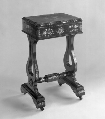 Sewing Table, 1840-1860. Papier mache, mother of pearl, 30 x 4 5/8 x 18 1/2 in. (76.2 x 11.7 x 47 cm). Brooklyn Museum, Gift of Mrs. William Sterling Peters, 48.207.270. Creative Commons-BY