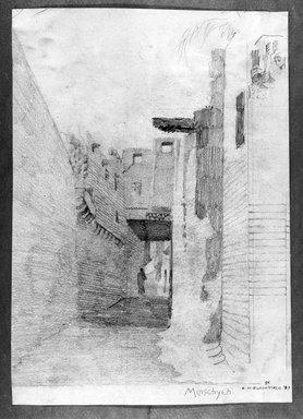Edwin Howland Blashfield (American, 1848-1936). El Manshah, 1887. Graphite on paper mounted on paperboard, Sheet: 14 1/16 x 9 15/16 in. (35.7 x 25.2 cm). Brooklyn Museum, Gift of John H. Field, 48.217.14b