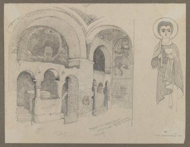 Edwin Howland Blashfield (American, 1848-1936). Early Christian (Coptic) Monastery at Esna, March 1, 1887. Graphite on cream, medium-weight, smooth wove paper, Sheet: 8 1/4 x 10 3/4 in. (21 x 27.3 cm). Brooklyn Museum, Gift of John H. Field, 48.217.1