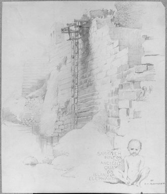 Edwin Howland Blashfield (American, 1848-1936). Sakia at the Nilometer, Island of Elephantine, 1887. Graphite on paper mounted to gray paperboard, Sheet: 11 3/4 x 10 1/16 in. (29.8 x 25.6 cm). Brooklyn Museum, Gift of John H. Field, 48.217.3
