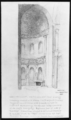 Edwin Howland Blashfield (American, 1848-1936). Church at the White Convent, Near Sohag, 1887. Graphite on paper, Sheet: 10 3/8 x 6 1/4 in. (26.4 x 15.9 cm). Brooklyn Museum, Gift of John H. Field, 48.217.6