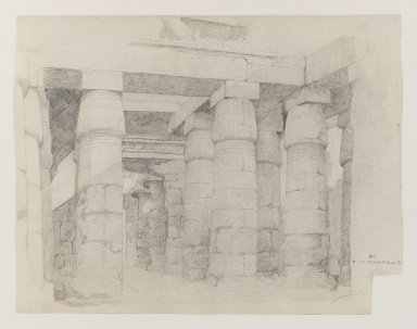 Edwin Howland Blashfield (American, 1848-1936). Temple of Khonsu at Karnak, 1887. Graphite on medium, cream, slilghtly textured, wove paper, Sheet (uneven): 10 5/8 x 13 3/4 in. (27 x 34.9 cm). Brooklyn Museum, Gift of John H. Field, 48.217.8
