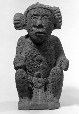 Aztec. Sculpture of Male Deity, circa 1440-1521. Stone, 14 15/16 x 7 1/2 x 5 5/16 in. (38 x 19 x 13.5 cm). Brooklyn Museum, By exchange, 48.22.7. Creative Commons-BY