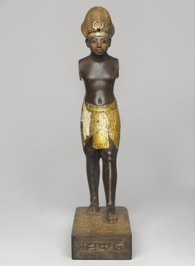 Amunhotep III, ca. 1390-1352 B.C.E. Wood, gold leaf, glass, paint, Total height: 10 3/8 in. (26.3 cm). Brooklyn Museum, Charles Edwin Wilbour Fund, 48.28. Creative Commons-BY