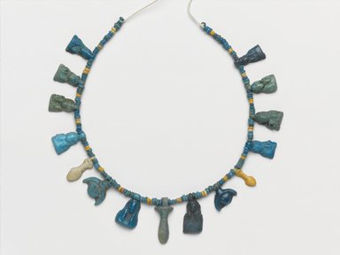 Single-Strand Necklace, ca. 1332-1292 B.C.E. Faience, 3/16 x 19 3/16 in. (0.5 x 48.8 cm). Brooklyn Museum, Gift of Mrs. Lawrence Coolidge and Mrs. Robert Woods Bliss, and the Charles Edwin Wilbour Fund, 48.66.40. Creative Commons-BY