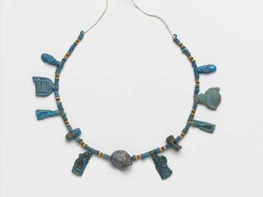 Single-Strand Necklace, ca. 1332-1292 B.C.E. Faience, 9/16 x 1/4 x 6 3/4 in. (1.4 x 0.6 x 17.1 cm). Brooklyn Museum, Gift of Mrs. Lawrence Coolidge and Mrs. Robert Woods Bliss, and the Charles Edwin Wilbour Fund, 48.66.43. Creative Commons-BY