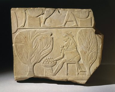 Egyptian. Tomb Relief Fragment, ca. 670-650 B.C.E. Limestone, 9 7/16 x 11 5/16 in. (23.9 x 28.7 cm). Brooklyn Museum, Charles Edwin Wilbour Fund, 48.74. Creative Commons-BY