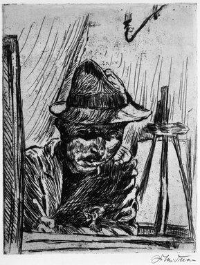 Ludwig Meidner (German, 1884-1966). Self-Portrait with Hat at Drawing Board, by Gaslight (Selbstbildnis mit Hut beim Zeichenbrett, mit Gaslicht), 1924. Etching on wove paper, Image (Plate): 10 1/2 x 8 3/16 in. (26.7 x 20.8 cm). Brooklyn Museum, Caroline A.L. Pratt Fund, 49.102.3. © Ludwig Meidner-Archive, Jüdisches Museum der Stadt Frankfurt am Main