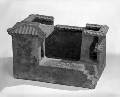 Model of farm outhouses with pig pen, 386-907. Earthenware, 7 15/16 x 8 7/16 x 11 13/16 in. (20.1 x 21.5 x 30 cm). Brooklyn Museum, 49.124.2. Creative Commons-BY