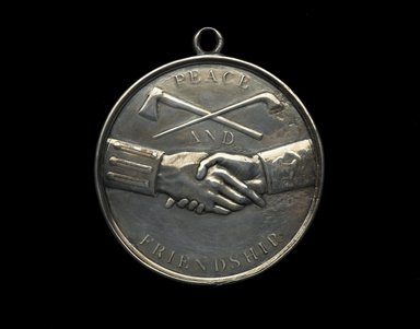 John Matthias Reich (American, born Germany, 1768-1833). Thomas Jefferson Indian Peace Medal, ca. 1801. Silver, Diameter: 4 in. (10.2 cm). Brooklyn Museum, Gift of F. Ethel Wickham in memory of her father, W. Hull Wickham, 49.135.4. Creative Commons-BY