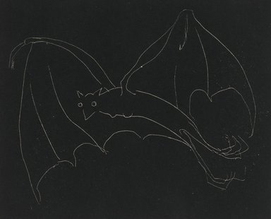 Anne Goldthwaite (American, 1869-1944). Night Series: The Bat, 20th century. Etching, white line on wove paper, Plate: 49 3/16 x 59 13/16 in. (125 x 152 cm). Brooklyn Museum, Gift of the Estate of Anne Goldthwaite, 49.164.12