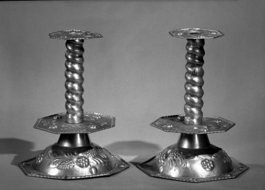 Pair of Candlesticks, 17th century. Brass, 10 3/8 in. (26.4 cm). Brooklyn Museum, Museum Collection Fund, 49.182.3a-b. Creative Commons-BY