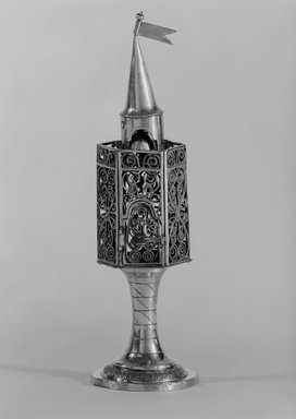 Spice Box for Habdalah Service, ca. 1820-1830. Silver, 8 3/4 x 2 5/8 x 2 5/8 in. (22.2 x 6.7 x 6.7 cm). Brooklyn Museum, Purchased with funds given by Herman Mendes, 49.228.13. Creative Commons-BY