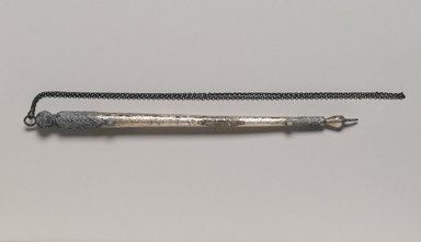 Pair of Torah Pointers, 20th century. Silver, semiprecious stones, Without chain: 10 1/4 x 5/8 x 5/8 in. (26 x 1.6 x 1.6 cm). Brooklyn Museum, Purchased with funds given by Mrs. Elsie Socolof and Mr. Joel E. Rothenberg, 49.228.17a-b. Creative Commons-BY