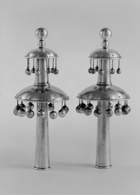 Torah Finials or Rimonim, ca. 1900. Silver, 9 7/8 x 3 3/4 x 3 3/4 in. (25.1 x 9.5 x 9.5 cm). Brooklyn Museum, Purchased with funds given by Mr. and Mrs. Morris W. Haft, 49.228.6. Creative Commons-BY
