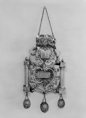 Torah Breastplate, ca. 1760. Silver, 17 7/8 x 9 5/8 x 2 in. (45.4 x 24.4 x 5.1 cm). Brooklyn Museum, Purchased with funds given by Moses Ginsburg, 49.228.9. Creative Commons-BY
