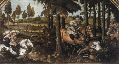 Hans Wertinger (German, 1465/70-1533). The Boar Hunt, ca. 1525-1530. Oil on cradled panel, 8 1/4 x 15 1/4 in. (21 x 38.7 cm). Brooklyn Museum, Gift of Mrs. Watson B. Dickerman, 49.230
