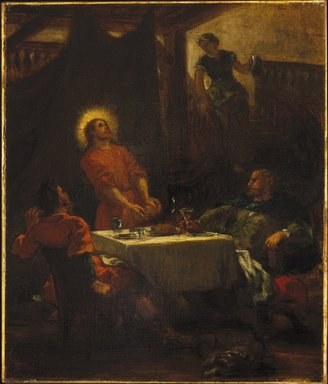 Eugène Delacroix (French, 1798-1863). The Disciples at Emmaus, or The Pilgrims at Emmaus (Les disciples d'Emmaüs, ou Les pèlerins d'Emmaüs), 1853. Oil on canvas, 21 3/4 x 18 1/2 in. (55.2 x 47 cm). Brooklyn Museum, Gift of Mrs. Watson B. Dickerman, 50.106