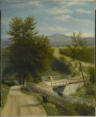 Alexander Ransom (American, active 1840-1865). Lover's Walk, ca. 1850-1860. Oil painting, 27 3/16 x 22 5/16 in. (69.1 x 56.7 cm). Brooklyn Museum, Anonymous gift, 50.119