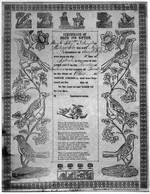 American. Certificate of Birth and Baptism, ca. 1830-1840. Woodcut on wove paper, sheet: 16 x 12 1/2 in. (40.6 x 31.8 cm). Brooklyn Museum, Dick S. Ramsay Fund, 50.122.4