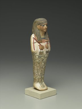 Shabty of Amunemhat, ca. 1400-1336 B.C.E. Limestone, paint, 10 5/8 x 3 1/8 x 2 in. (27 x 7.9 x 5.1 cm). Brooklyn Museum, Charles Edwin Wilbour Fund, 50.128. Creative Commons-BY