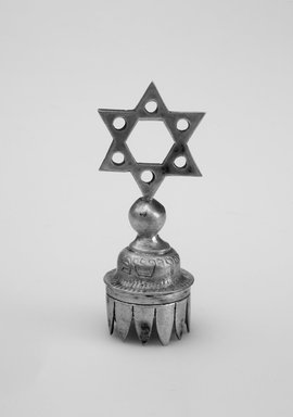 Jewish. Wine Bottle Top, 19th century. Silver, 2 1/2 x 1 x 1 in. (6.4 x 2.5 x 2.5 cm). Brooklyn Museum, Gift of Mrs. Morris Koven, 50.133.2. Creative Commons-BY