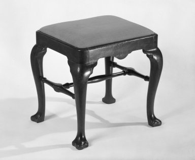 American. Stool. Walnut, Overall height: 18 in. (45.7 cm). Brooklyn Museum, Bequest of Mrs. William Sterling Peters, 50.141.16. Creative Commons-BY