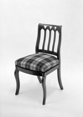 American. Sidechair, ca. 1850. Mahogany, modern upholstery, 33 3/4 x 18 x 17 3/4 in. (85.7 x 45.7 x 45.1 cm). Brooklyn Museum, Bequest of Mrs. William Sterling Peters, 50.141.19c. Creative Commons-BY
