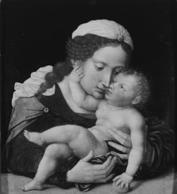 Flemish, Antwerp School. Madonna and Child, mid 16th century. Oil on panel, 10 1/2 x 9 7/16 in. (26.7 x 24 cm). Brooklyn Museum, Bequest of Mrs. William Sterling Peters, 50.143.3