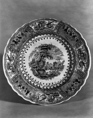 American Pottery Company (1833-1845). Plate, Canova Pattern, ca. 1845. White earthenware with transfer-printed decoration, diameter: 9 1/8 in. (23.2 cm). Brooklyn Museum, Museum Collection Fund, 50.144. Creative Commons-BY