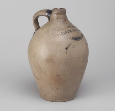 Jug, between 1799-1820. Stoneware, 9 1/4 x 6 1/4 x 6 1/4 in. (23.5 x 15.9 x 15.9 cm). Brooklyn Museum, Museum Collection Fund, 50.146. Creative Commons-BY
