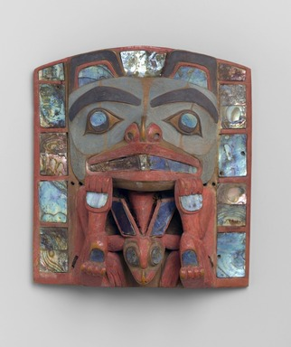 Charles Edenshaw (Haida, Native American, 1834-1924). Headdress Frontlet, late 19th century. Abalone shell, wood, pigment, 6 1/8 x 5 1/2 x 3 in. (15.6 x 14 x 7.6 cm). Brooklyn Museum, Gift of Helena Rubinstein, 50.158. Creative Commons-BY