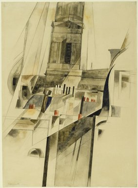 Charles Demuth (American, 1883-1935). Roofs and Steeple, 1921. Watercolor and graphite on textured wove paper, 14 3/8 x 10 7/16 in. (36.5 x 26.5 cm). Brooklyn Museum, Dick S. Ramsay Fund, 50.159