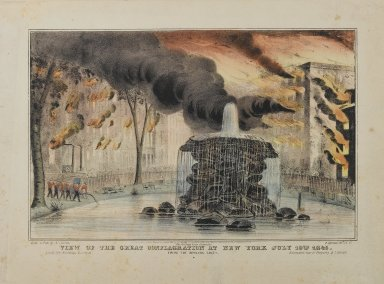 Brooklyn Museum: View of the Great Conflagration at New York from Bowling Green