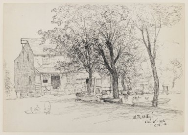 Charles Henry Miller (American, 1842-1922). At the Alley, August 21, 1882. Pen and ink on paper, Sheet: 10 x 14 1/16 in. (25.4 x 35.7 cm). Brooklyn Museum, Dick S. Ramsay Fund, 50.168
