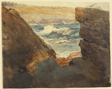 Winslow Homer (American, 1836-1910). Through the Rocks, 1883. Watercolor heightened with white, 11 7/16 x 14 in. (29.0 x 35.5 cm). Brooklyn Museum, Bequest of Sidney B. Curtis in memory of S.W. Curtis, 50.183