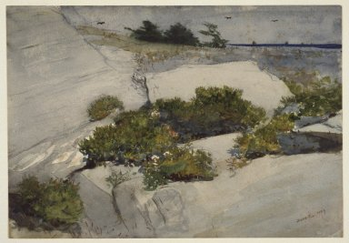 Winslow Homer (American, 1836-1910). Maine Cliffs, 1883. Watercolor over charcoal on cream, thick, rough-textured wove paper, 13 3/8 x 19 3/16in. (34 x 48.7cm). Brooklyn Museum, Bequest of Sidney B. Curtis in memory of S.W. Curtis, 50.184