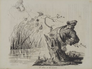 Honoré Daumier (French, 1808-1879). The Oak and the Reeds (Le chêne et les roseaux), October 5, 1834. Lithograph on newsprint, 9 3/8 x 10 5/8 in. (23.8 x 27 cm). Brooklyn Museum, Gift of Mary Smith Dorward, 50.190