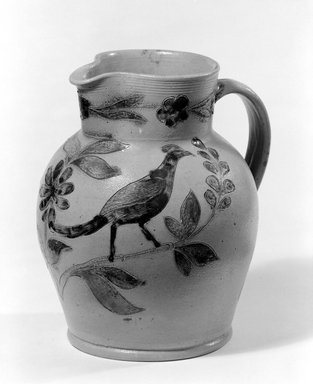 (probably) John Remmey III (1765-after 1831). Pitcher, ca. 1830. Stoneware, 8 5/8 x 7 5/8 x 6 3/4 in. (21.9 x 19.4 x 17.1 cm). Brooklyn Museum, Museum Collection Fund, 50.2. Creative Commons-BY