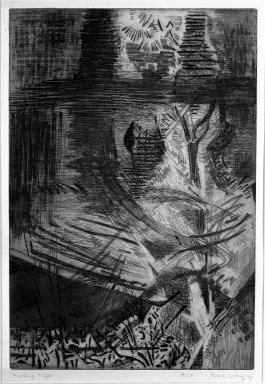 Karl Schrag (American, 1912-1995). Falling Night, 1949. Aquatint, etching, and engraving on paper, image: 17 3/4 x 12 in. (45.1 x 30.5 cm). Brooklyn Museum, Dick S. Ramsay Fund, 50.33. © Karl Schrag LLC