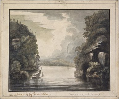 William Pierie (Captain) (American, active late 18th century). Narrows at Lake George, 1777. Watercolor on cream, thick, rough-textured, laid paperboard, Sheet: 8 7/16 x 10 3/16 in. (21.4 x 25.9 cm). Brooklyn Museum, Dick S. Ramsay Fund, 50.66.1