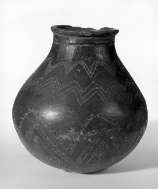 Caddo (Native American). Three Jars with Incised Designs, 1801-1833. Clay, slip, a)  4 3/4 x 2 1/2 x 2 1/2 in. (12.1 x 6.4 x 6.4 cm). Brooklyn Museum, Henry L. Batterman Fund and the Frank Sherman Benson Fund, 50.67.105a-c. Creative Commons-BY