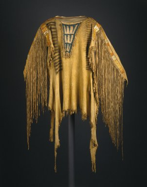 Sioux (Native American). Chief's War Shirt, early 19th century. Buckskin, dye, pigment, glass beads, porcupine quills, maidenhair fern stems, sinew, 30 x 20 in.  (76.2 x 50.8 cm). Brooklyn Museum, Henry L. Batterman Fund and the Frank Sherman Benson Fund, 50.67.11. Creative Commons-BY