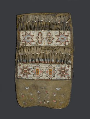Cree (Native American). Quilled Shot Pouch, early 19th century. Hide, dyed porcupine quill, deer hair, glass beads, thread, fur, 12 x 6 1/2 in. (30.5 x 16.5 cm). Brooklyn Museum, Henry L. Batterman Fund and the Frank Sherman Benson Fund, 50.67.16. Creative Commons-BY