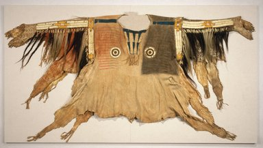 Sioux (Native American). Shirt for Chief's War Dress, 19th century. Pony beads, porcupine quills, buckskin, maidenhair fern stem, human hair, horsehair, dye, feather, 44 x 68 in. (111.8 x 172.7 cm). Brooklyn Museum, Henry L. Batterman Fund and Frank Sherman Benson Fund, 50.67.1a. Creative Commons-BY
