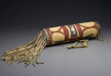 Blackfoot (Native American). Headdress Case, late 19th century. Rawhide, pigment, 17 1/2in. (44.5cm). Brooklyn Museum, Henry L. Batterman Fund and Frank Sherman Benson Fund, 50.67.30. Creative Commons-BY